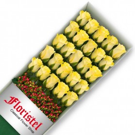 Caja de 25 Rosas Amarillas