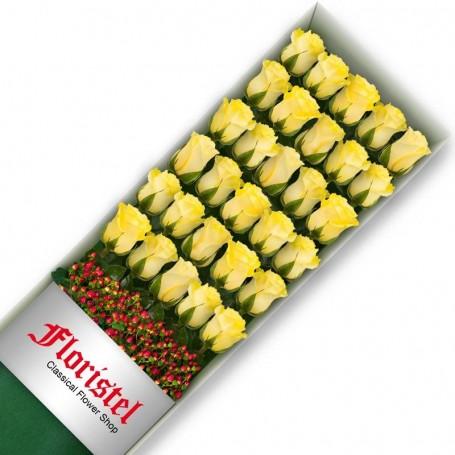 Caja de 30 Rosas Amarillas