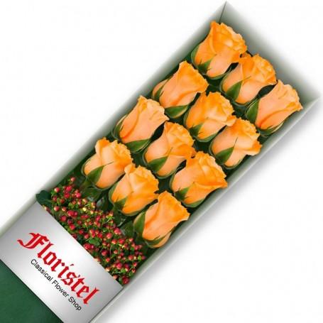 Caja de 12 Rosas Damasco
