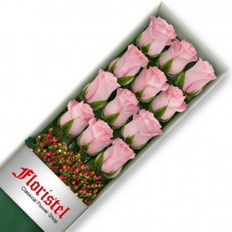 Caja de 12 Rosas Rosadas