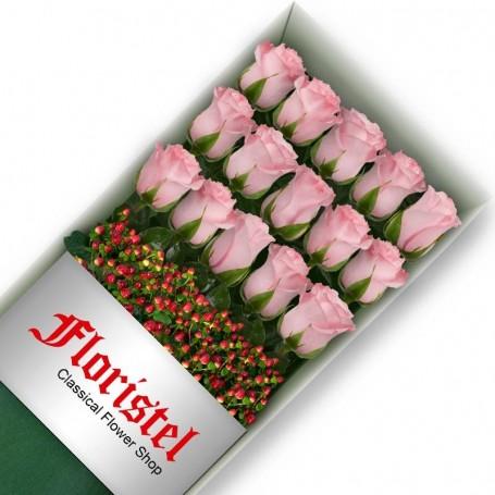 Caja de 15 Rosas Rosadas
