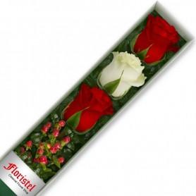 Cajas de Rosas 3 Mix Rojas y Blancas