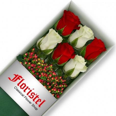 Cajas de Rosas 6 Mix Rojas y Blancas