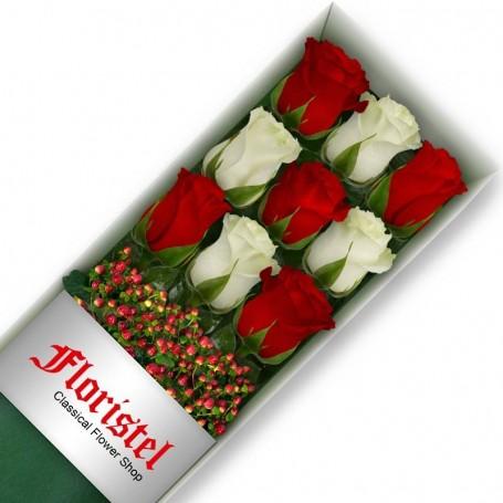 Cajas de Rosas 9 Mix Rojas y Blancas