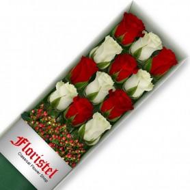 Cajas de Rosas 12 Mix Rojas y Blancas