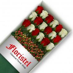 Cajas de Rosas 18 Mix Rojas y Blancas