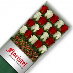 Cajas de Rosas 20 Mix Rojas y Blancas