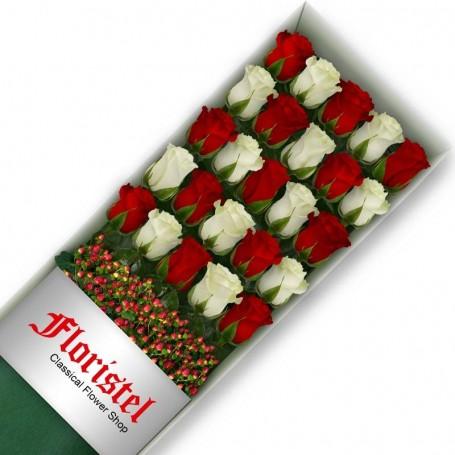 Cajas de Rosas 25 Mix Rojas y Blancas
