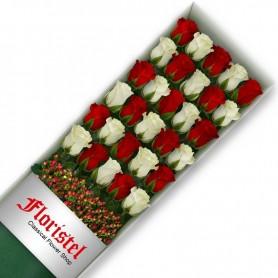 Cajas de Rosas 30 Mix Rojas y Blancas