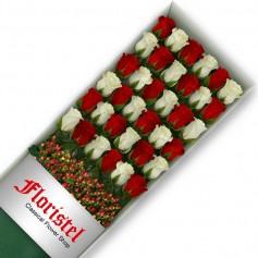 Cajas de Rosas 36 Mix Rojas y Blancas