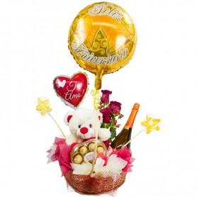 Arreglo de Aniversario con Globos + Champagne + Bombones + Peluche