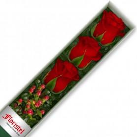 Caja de 3 Rosas Rojas