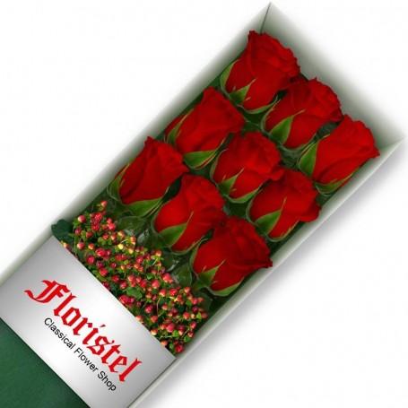 Cajas de 9 Rosas Rojas