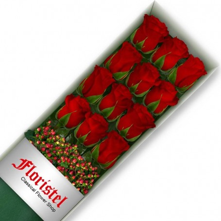 Caja de 12 Rosas Rojas