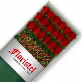 Cajas de 18 Rosas Rojas