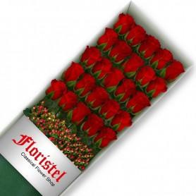 Caja de 25 Rosas Rojas