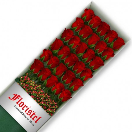 Caja de 30 Rosas Rojas