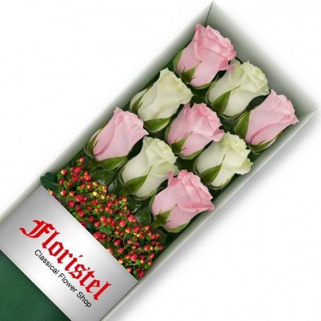 Cajas de 9 Rosas MIx Blancas y Rosadas