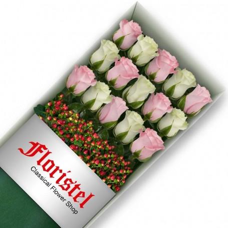 Cajas de 15 Rosas MIx Blancas y Rosadas