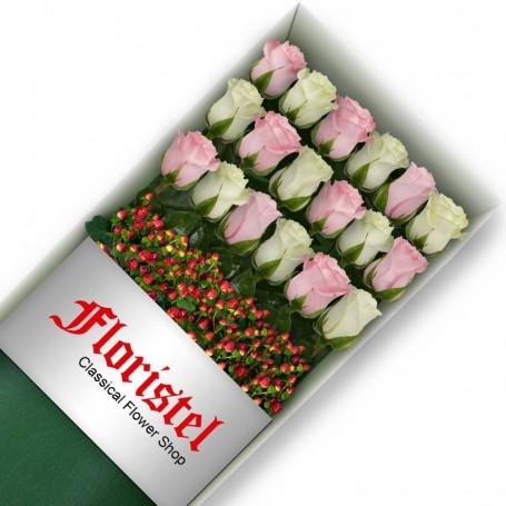 Cajas de 18 Rosas MIx Blancas y Rosadas
