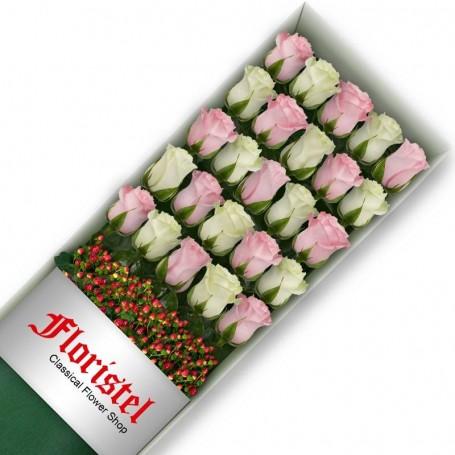 Cajas de 25 Rosas MIx Blancas y Rosadas