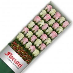 Cajas de 30 Rosas MIx Blancas y Rosadas