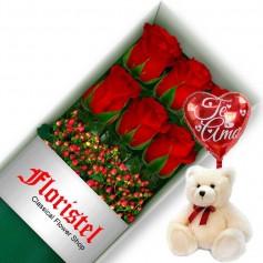 Oferta de Caja con 6 Rosas Rojas más Globo y Peluche