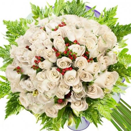 Ramos De 100 Rosas Blancas Floristel Flores A Domicilio - Imagenes-de-ramos-de-rosas-blancas