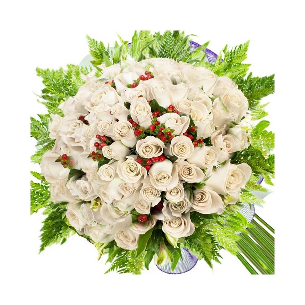 Ramos de 100 Rosas Blancas - FLORISTEL - FLORES A DOMICILIO