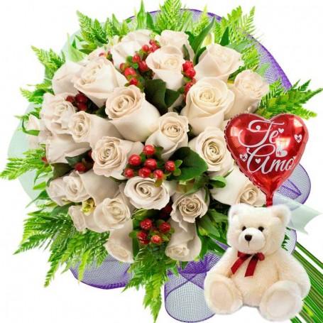 Oferta Ramo De 24 Rosas Blancas Mas Globo Y Peluche - Imagenes-de-ramos-de-rosas-blancas