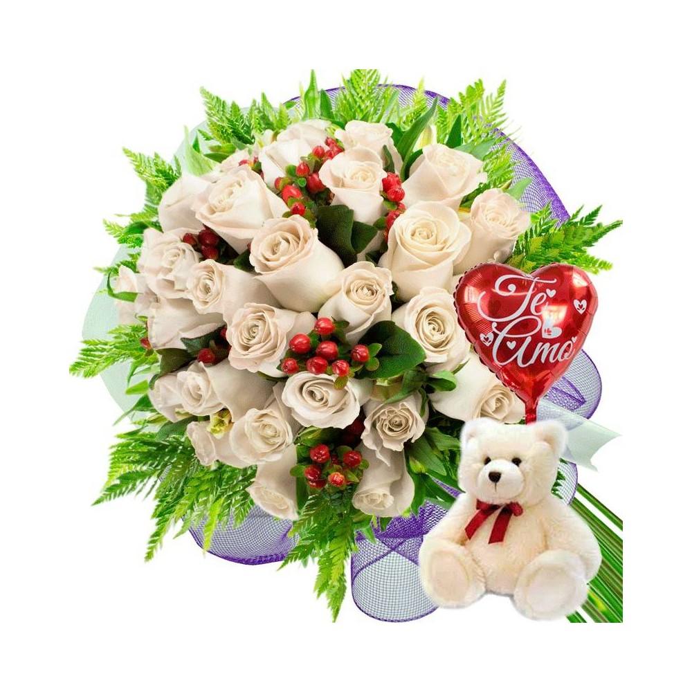 Oferta Ramo de 24 Rosas Blancas mas Globo y Peluche