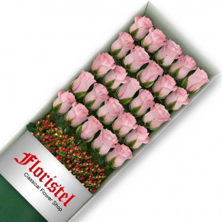 Caja de 24 Rosas Rosadas