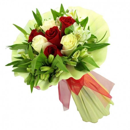 Ramos de 8 rosas Blancas y Rojas