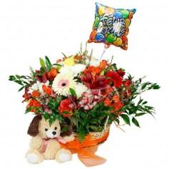 Cesta de Flores Primaverales para Cumpleaños + Peluche y Globo