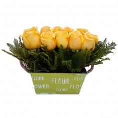Canastillo 10 Rosas Amarillas