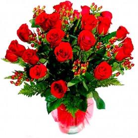 Florero de 25 Rosas Rojas