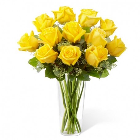 Florero de 12 Rosas Amarillas