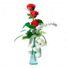 Florero de 3 Rosas Rojas y Peluche