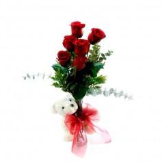 Florero de 6 Rosas Rojas y Peluche