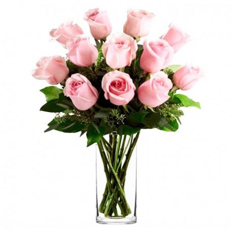 Florero de 12 Rosas Rosadas