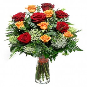 Florero de 12 Rosas Rojas y Amarillas