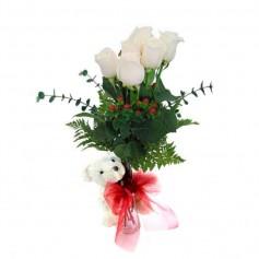 Florero de 6 Rosas Blancas y Peluche