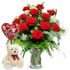Florero de 12 Rosas Rojas con Peluche y Globo