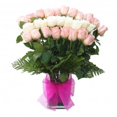 Florero con 24 Rosas Rosadas y Blancas