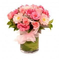Florero Nacimiento Mix Rosas y Flores Tonos Rosas