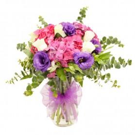Florero de Hortencias y 4 Rosas Blancas
