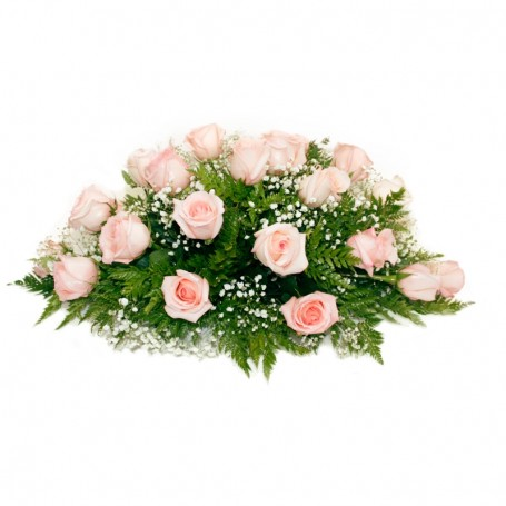 Ovalo de Condolencias con 25 Rosas Rosadas
