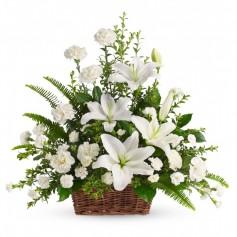 Canastillo de Condolencias Mix Flores Blancas