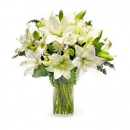 Florero para Condolencias Liliums y Flores Blancas