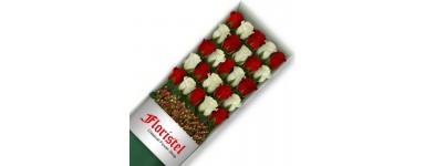 Cajas de Rosas Mix Rojas y Blancas